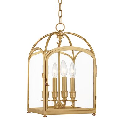 Eugenie 4-Light Foyer Pendant Size: 22, Finish: Aged Brass