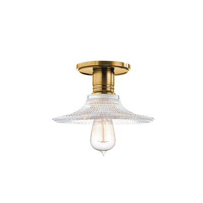 Diogo 1-Light Metal Semi-Flush Mount Finish: Aged Brass, Shade Type: GS6