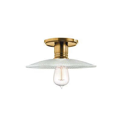 Diogo 1-Light Metal Semi-Flush Mount Finish: Aged Brass, Shade Type: GS4
