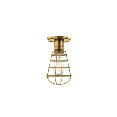 Diogo 1-Light Metal Semi-Flush Mount Finish: Aged Brass, Shade Type: WG