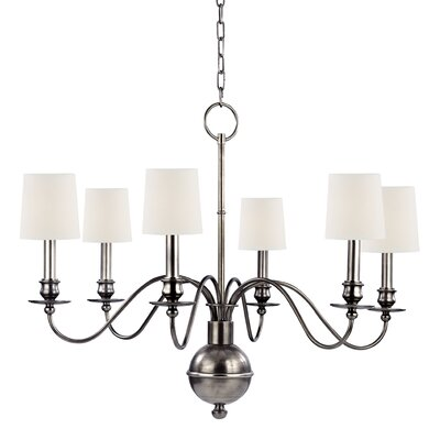 Erby 6-Light Shaded Chandelier Shade Color: White, Finish: Aged Silver