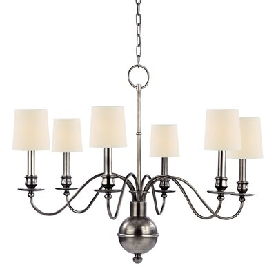Erby 6-Light Shaded Chandelier Finish: Aged Silver, Shade Color: Cream