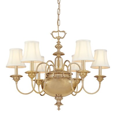 Ellington 6-Light Shaded Chandelier Finish: Aged Brass