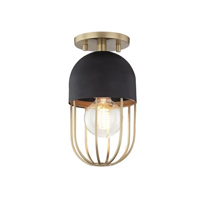 Galien 1-Light Semi Flush Mount Fixture Finish: Aged Brass