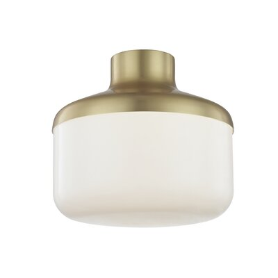 Aric 1-Light Flush Mount Fixture Finish: Polished Copper, Size: 8.25 H x 9 W x 9 D