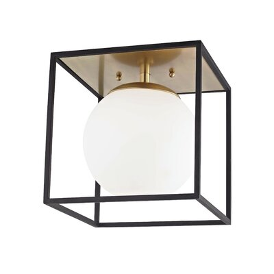 Garza 1-Light Semi Flush Mount Fixture Finish: Aged Brass, Size: 9.5 H x 9.5 W x 9.5 D