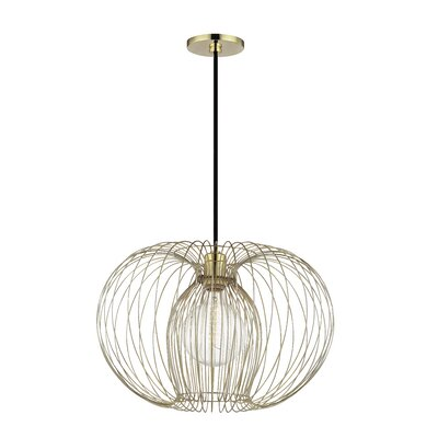 Gamma 1-Light Geometric Pendant Finish: Polished Brass, Size: 15 H x 17 W x 17 D