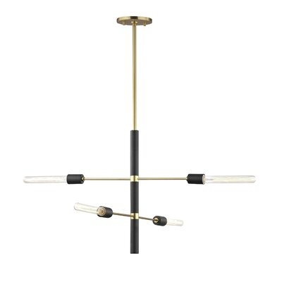 Gemini 4-Light Sputnik Chandelier Finish: Aged Brass