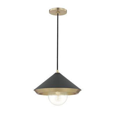 Glendale Heights 1-Light Mini Pendant Finish: Aged Brass, Shade Color: Black, Size: 6.25 H x 11.75 W x 11.75 D