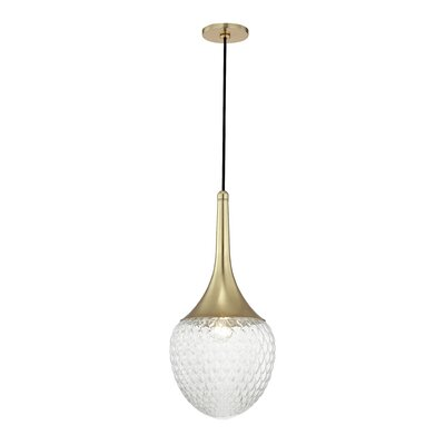 Jeramy Incandescent 1-Light Mini Pendant Finish: Aged Brass