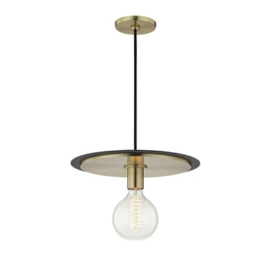 Glenmore 1-Light Mini Pendant Finish: Aged Brass, Shade Color: Black, Size: 4.25 H x 9 W x 9 D