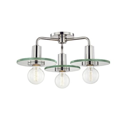 Rocco 3-Light Semi Flush Mount Fixture Finish: Polished Nickel