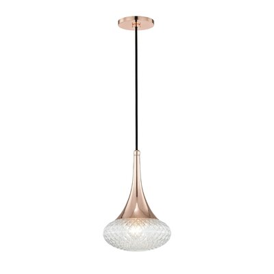 Jeramy Incandescent 1-Light 60W Mini Pendant Finish: Polished Copper