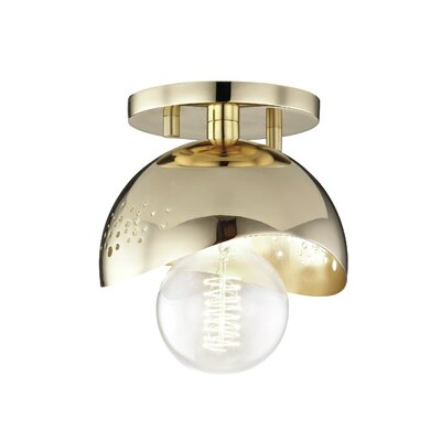 Galina 1-Light Semi Flush Mount Fixture Finish: Polished Brass