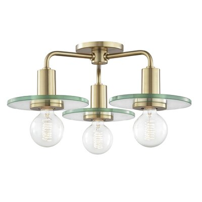 Rocco 3-Light Semi Flush Mount Fixture Finish: Aged Brass