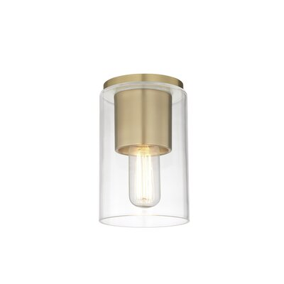 Cyrus 1-Light Semi Flush Mount Fixture Finish: Aged Brass