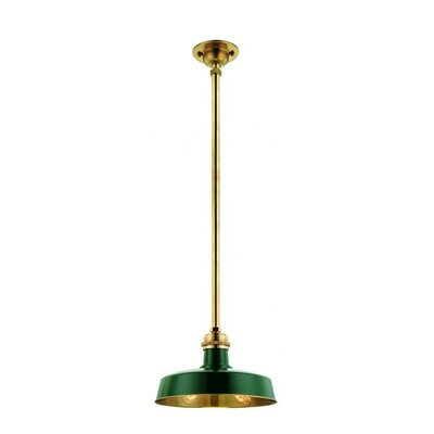 Hudson Falls 1-Light Pendant Finish: Green Aged Brass
