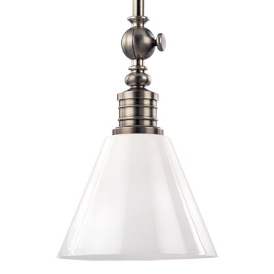 Charley 1-Light Empire Shape Pendant Finish: Polished Nickel, Shade Material: Opal Glossy Shade, Bulb Type: 150W A19