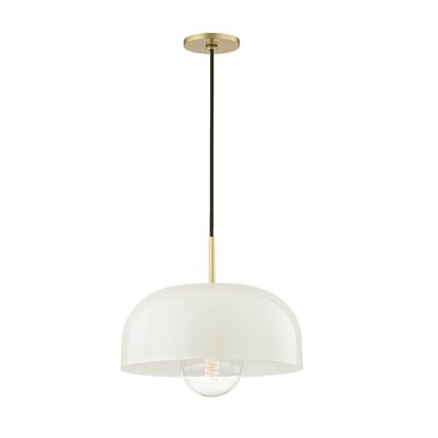 Honore 1-Light Mini Pendant Shade Color: Cream, Finish: Aged Brass, Size: 5.75 H x 14 W x 14 D