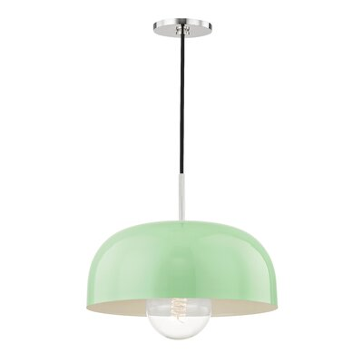 Honore 1-Light Mini Pendant Shade Color: Mint, Finish: Polished Nickel, Size: 5.75 H x 14 W x 14 D