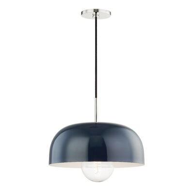 Honore 1-Light Mini Pendant Shade Color: Navy, Finish: Polished Nickel, Size: 4.25 H x 11 W x 11 D