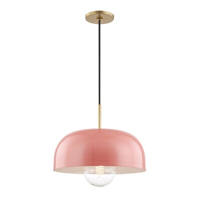 Honore 1-Light Mini Pendant Shade Color: Pink, Finish: Aged Brass, Size: 4.25 H x 11 W x 11 D