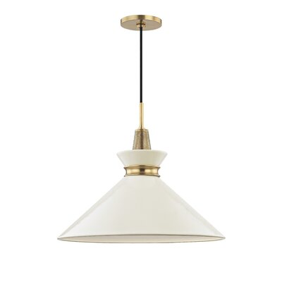 Cruce 1-Light Mini Pendant Finish: Aged Brass, Shade Color: Cream, Size: 15.25 H x 18 W x 18 D