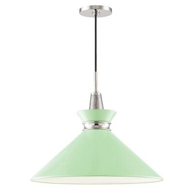 Cruce 1-Light Mini Pendant Finish: Polished Nickel, Shade Color: Mint, Size: 15.25 H x 18 W x 18 D