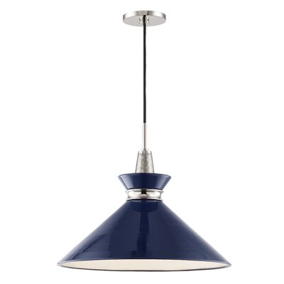 Cruce 1-Light Mini Pendant Finish: Polished Nickel, Shade Color: Navy, Size: 15.25 H x 18 W x 18 D