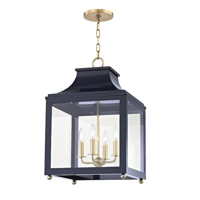 Castellon 4-Light Foyer Pendant Finish: Aged Brass, Shade Color: Navy, Size: 24.88 H x 16 W x 16 D