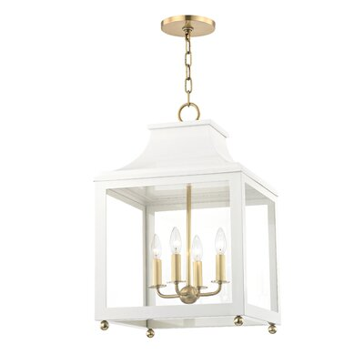 Castellon 4-Light Foyer Pendant Finish: Aged Brass, Shade Color: White, Size: 18.63 H x 11.5 W x 11.5 D