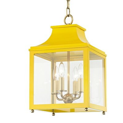 Castellon 4-Light Foyer Pendant Finish: Aged Brass, Shade Color: Marigold, Size: 18.63 H x 11.5 W x 11.5 D