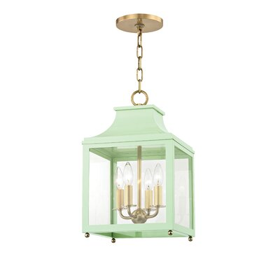 Castellon 4-Light Foyer Pendant Finish: Aged Brass, Shade Color: Mint, Size: 24.88 H x 16 W x 16 D