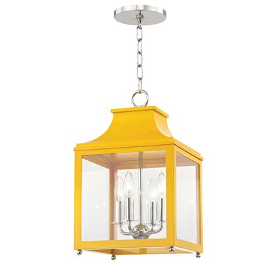 Castellon 4-Light Foyer Pendant Finish: Polished Nickel, Shade Color: Marigold, Size: 24.88 H x 16 W x 16 D