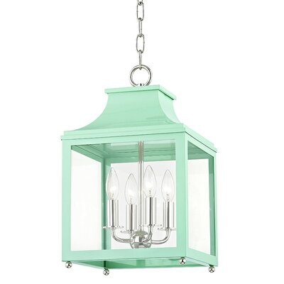 Castellon 4-Light Foyer Pendant Finish: Polished Nickel, Shade Color: Mint, Size: 18.63 H x 11.5 W x 11.5 D