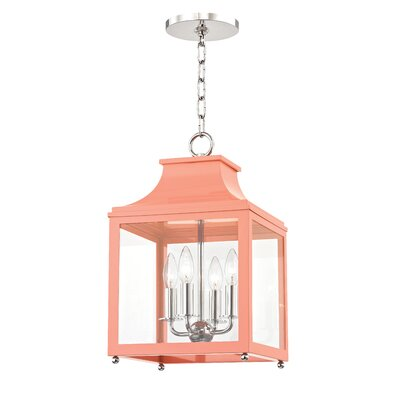 Castellon 4-Light Foyer Pendant Finish: Polished Nickel, Shade Color: Pink, Size: 18.63 H x 11.5 W x 11.5 D