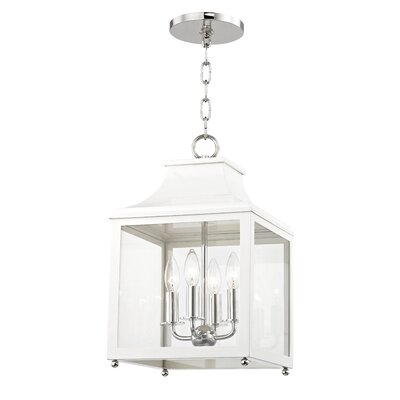 Castellon 4-Light Foyer Pendant Finish: Polished Nickel, Shade Color: White, Size: 24.88 H x 16 W x 16 D