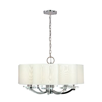 Maya 8-Light Shaded Chandelier Finish: Polished Nickel