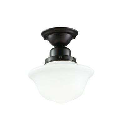 Karen 1-Light Semi Flush Mount Finish: Polished Nickel, Size: 15.25 H x 15 W