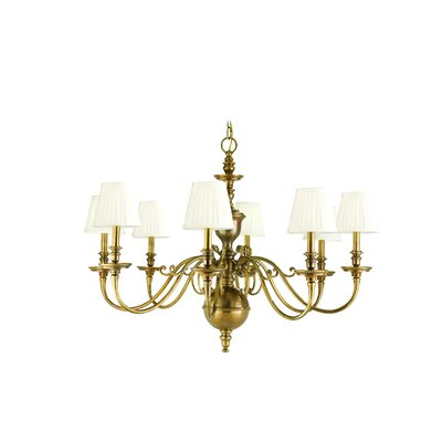 Philbrook 8-Light Shaded Chandelier Finish: Aged Brass