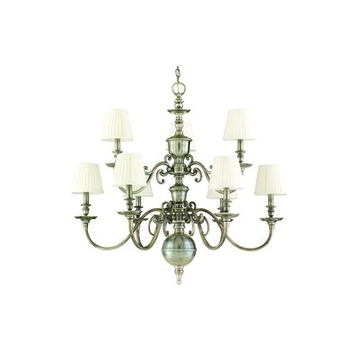 Philbrook 9-Light Shaded Chandelier Finish: Historic Nickel