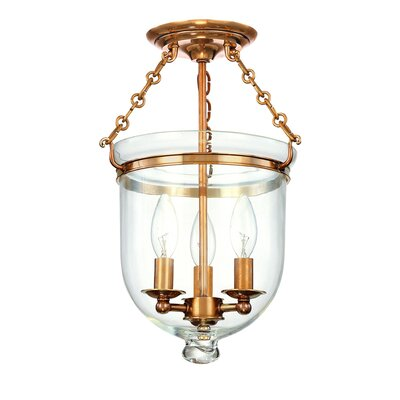 Williamsburg Hampton 3-Light Semi Flush Mount Finish / Shade Material: Aged Brass/C1