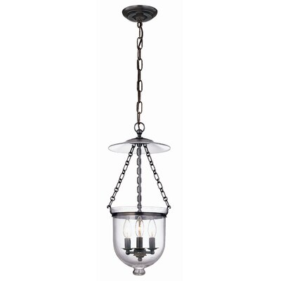 Hampton 3-Light Pendant Glass Pattern: Plain, Finish: Old Bronze