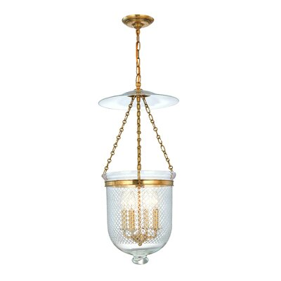 Williamsburg Hampton 4-Light Foyer Pendant Finish/Glass: Aged Brass/C2