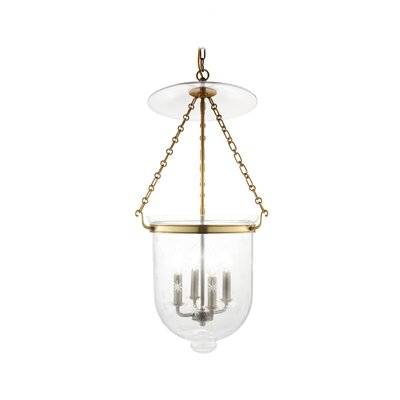 Williamsburg Hampton 4-Light Foyer Pendant Finish/Glass: Aged Brass/C3
