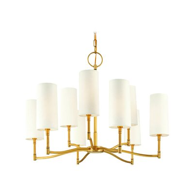 Katya 9-Light Shaded Chandelier Finish: Aged Brass