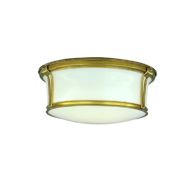 Aries Light Mount Finish: Aged Brass, Size: 5.25H x 13 Dia.