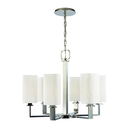 Caskey 6-Light Shaded Chandelier Finish: Polished Nickel