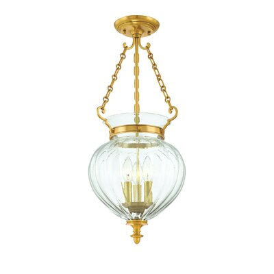 Gardner 9.25 3-Light Semi Flush Mount Finish: Aged Brass, Size: 15.5H x 9.25W