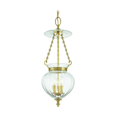 Eric 3-Light Mini Foyer Pendant Finish: Aged Brass, Size: 11